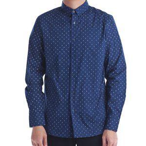 New Men's Leaves Print Long Sleeves Shirt.